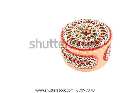 Round jewellery casket box isolated on white - stock photo