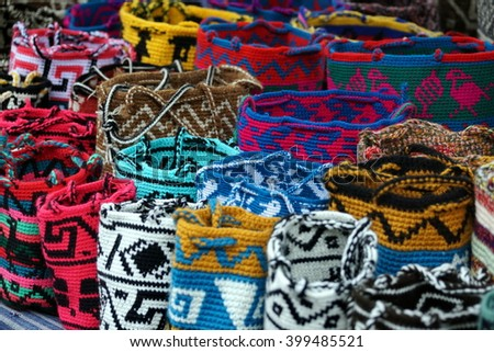 Round knitted bags in the Otavalo Market