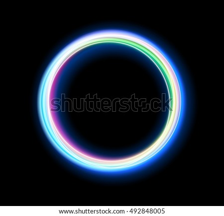 Round light trail special effect isolated on black background. Colorful glowing neon ring design element for decoration