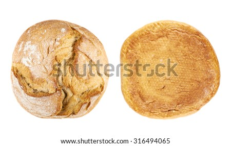 Round loaf of bread isolated over the white background, set of two foreshortenings, top and above view - stock photo
