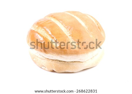 Round loaf of bread on a white background  - stock photo