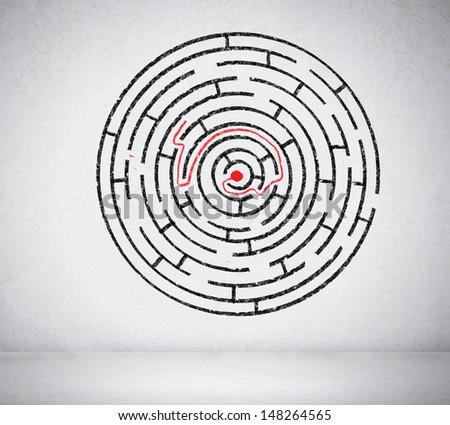 Round maze against white background. Solution idea - stock photo