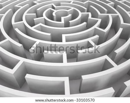 Round maze. 3D rendered image - stock photo
