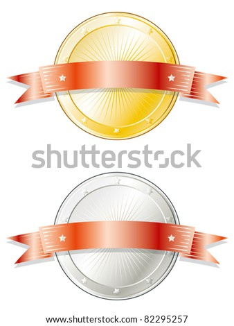 Round metal badge/seal of approval in gold and silver look with a red ribbon on top. - stock photo