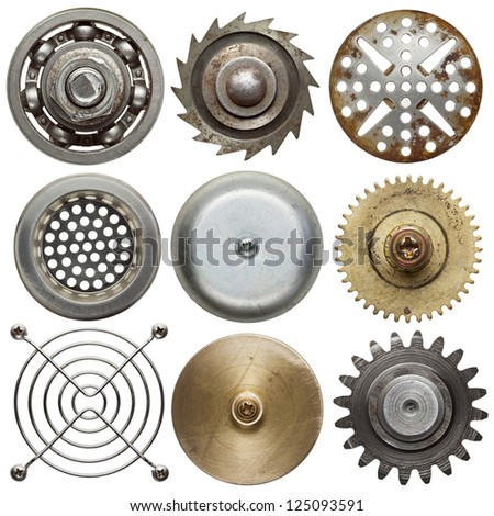 Round metal objects. Isolated on white. - stock photo