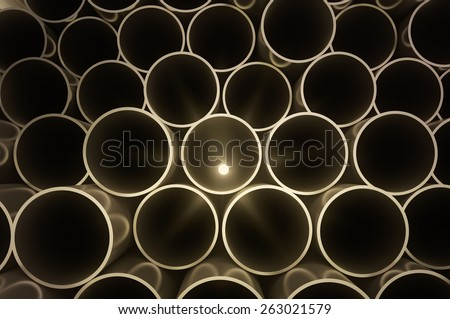 Round metal  pipes. industrial 3d illustration - stock photo