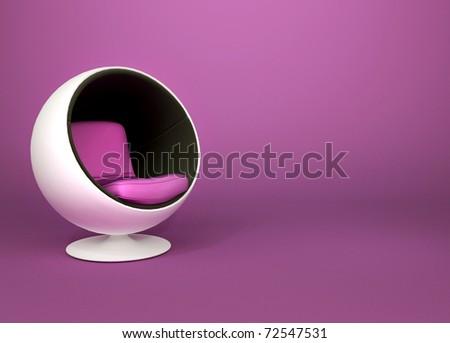 Round minimalism armchair on violet background. Pop art. Art-deco - stock photo