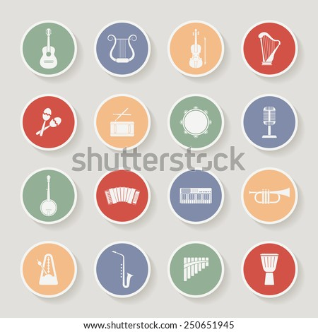 Round Musical Instruments Icons. Raster version - stock photo