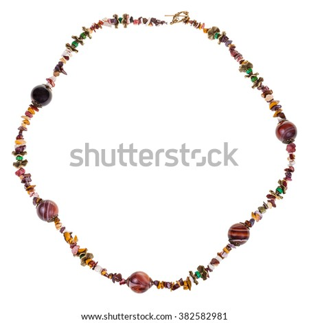 round necklace from natural gemstone chippings (mookaite, jasper, agate,turquoise, brass) isolated on white background - stock photo