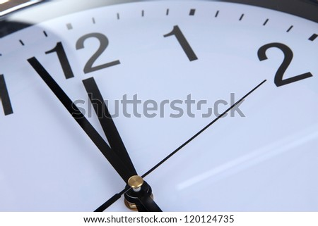 round office clock close up - stock photo
