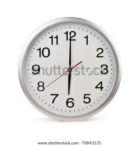 round office clock isolated on white - stock photo