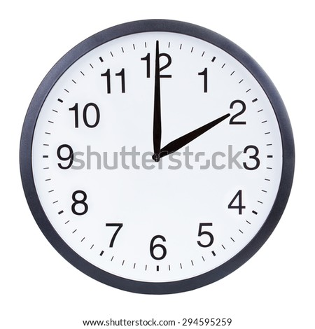Round office clock showing two o'clock isolated on white background - stock photo