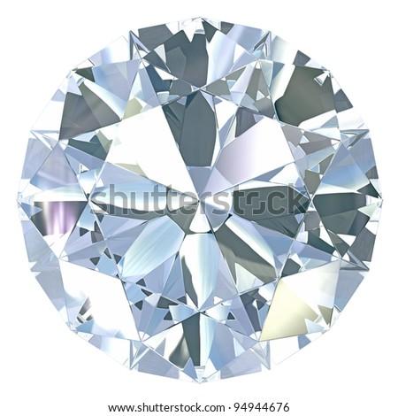 Round, old european diamond cut, isolated on white background - stock photo