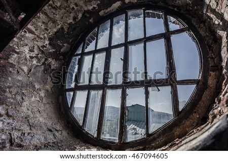 round old window in factory
