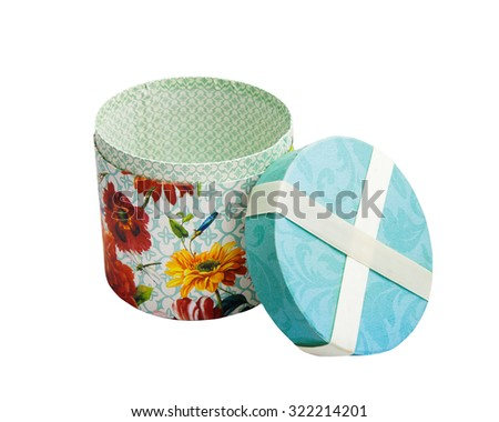 Round opened vintage gift box empty on white
