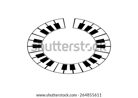 Round or circular shaped piano keyboard - stock photo