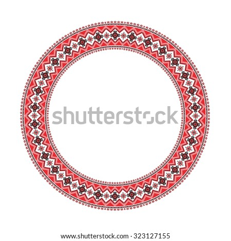round ornament of embroidered good like handmade cross-stitch ethnic Ukraine pattern - stock photo