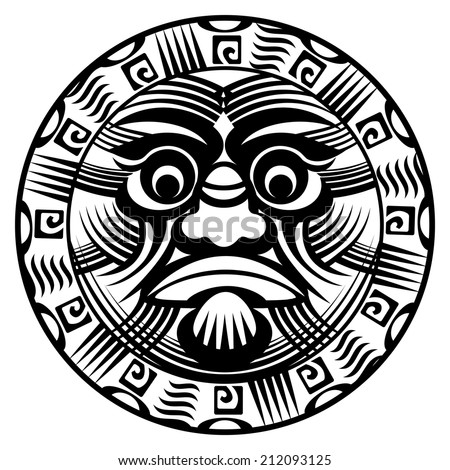 round ornamental polynesian tattoo demon with terrible face
