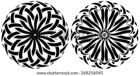 Round ornaments on a white background. set of tribal - stock photo