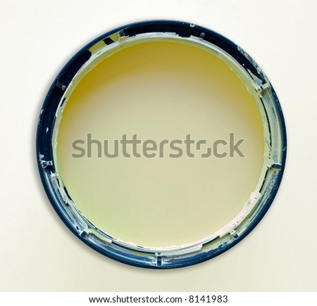 Round paint or painting container tin on white. - stock photo