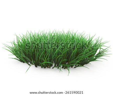 round patch of fresh grass - stock photo