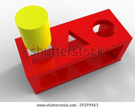 Round peg square hole - stock photo