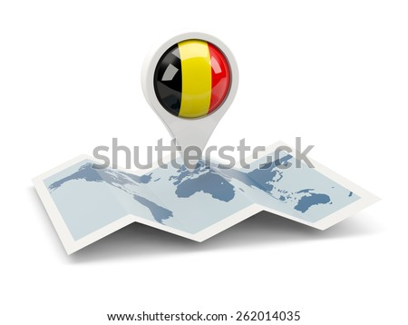Round pin with flag of belgium on the map - stock photo