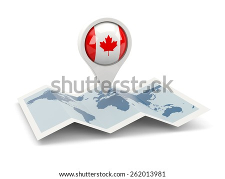 Round pin with flag of canada on the map - stock photo