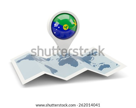 Round pin with flag of christmas island on the map - stock photo