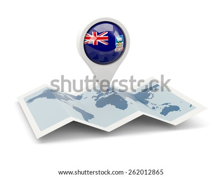 Round pin with flag of falkland islands on the map - stock photo