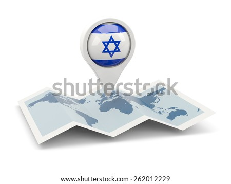 Round pin with flag of israel on the map - stock photo