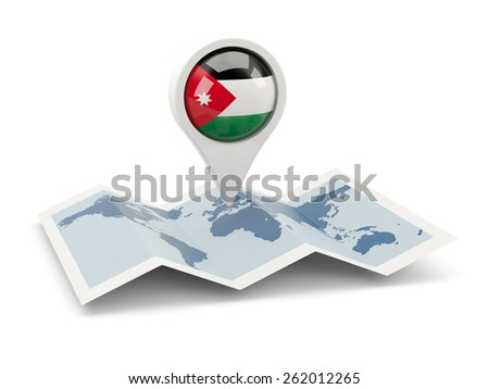 Round pin with flag of jordan on the map - stock photo