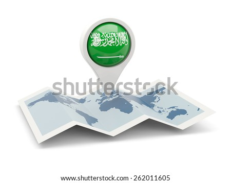 Round pin with flag of saudi arabia on the map - stock photo