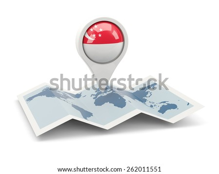 Round pin with flag of singapore on the map - stock photo