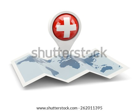 Round pin with flag of switzerland on the map - stock photo