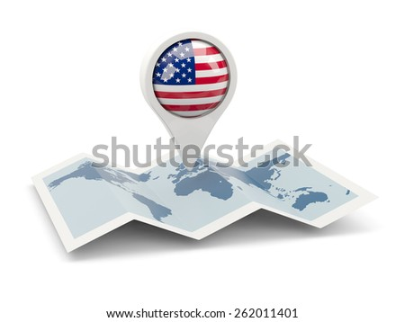 Round pin with flag of united states of america on the map - stock photo