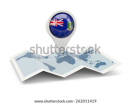 Round pin with flag of virgin islands british on the map - stock photo