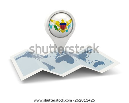 Round pin with flag of virgin islands us on the map - stock photo