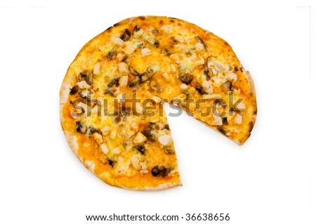 Round pizza isolated on the white background
