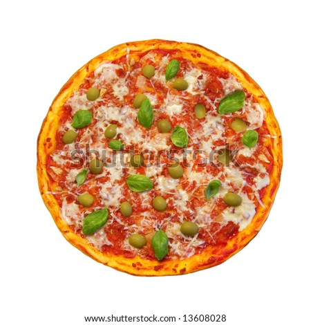round pizza isolated on white background - stock photo