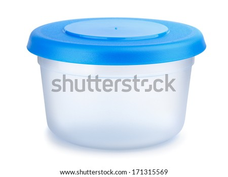 Round plastic food container isolated on white