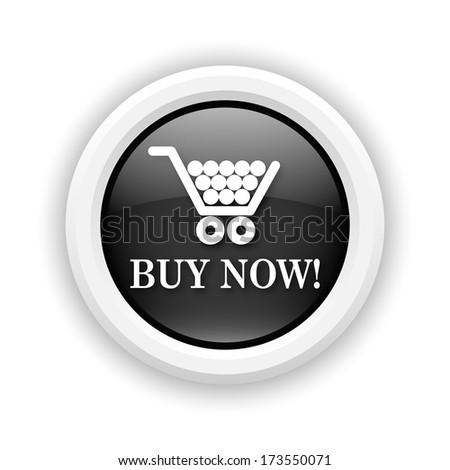 Round plastic icon with white design on black background - stock photo