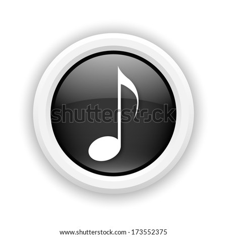 Round plastic icon with white design on black background - stock photo