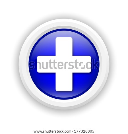 Round plastic icon with white design on blue background - stock photo