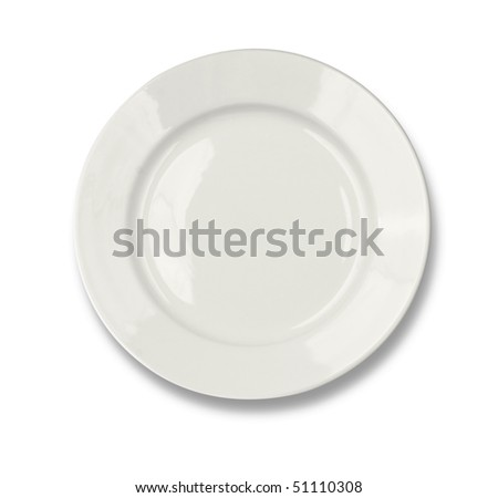 Round plate isolated on white with clipping path included - stock photo