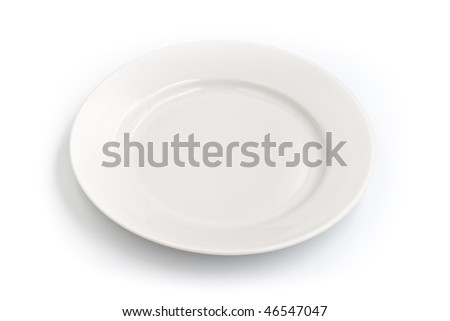 Round plate on white background isolated - stock photo