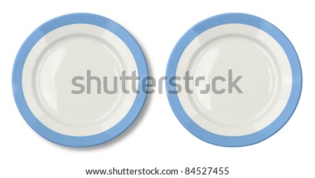 Round plate with blue border isolated on white with clipping path included - stock photo