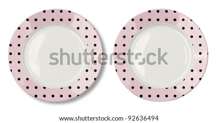 Round plate with pink border and clipping path included - stock photo