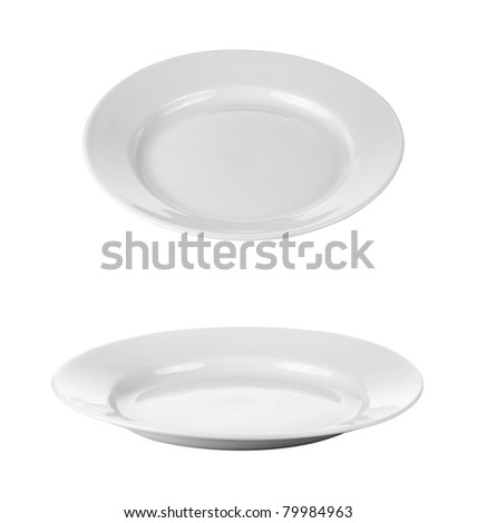 round plates or dishes isolated on white with clipping path - stock photo