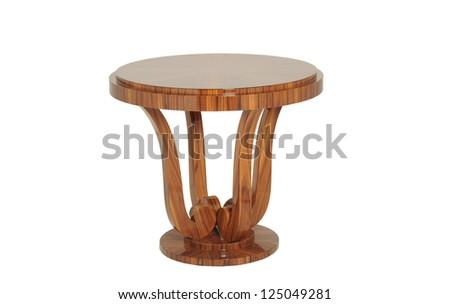 Round polished wood table isolated on white - stock photo